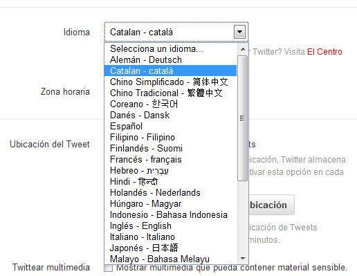 canvi d'idioma: twitter en català
