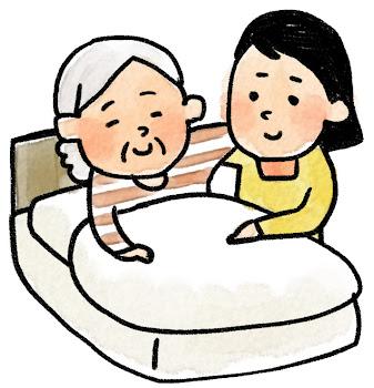 介護のイラスト「ベッドのおばあさん」