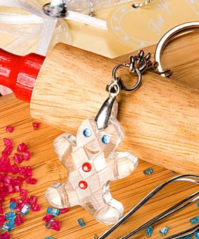 Crystal+Collection+gingerbread+man+design+key+chain+favors
