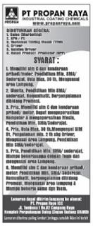 Lowongan Kerja PT. Propan Raya Lampung, Minggu 27 Desember 2015