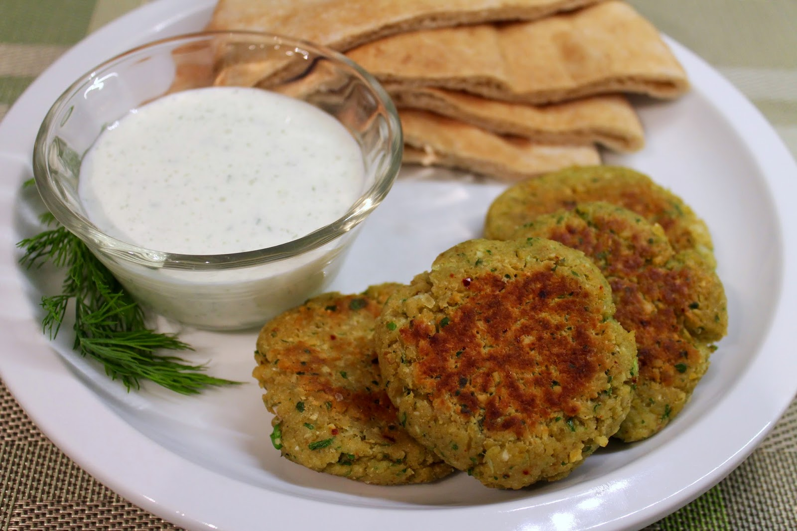 Mediterranean Chickpea Patties with Tzatziki Sauce
