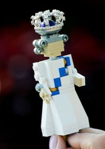 photos of lego queen elizabeth figure doll with diamond crown