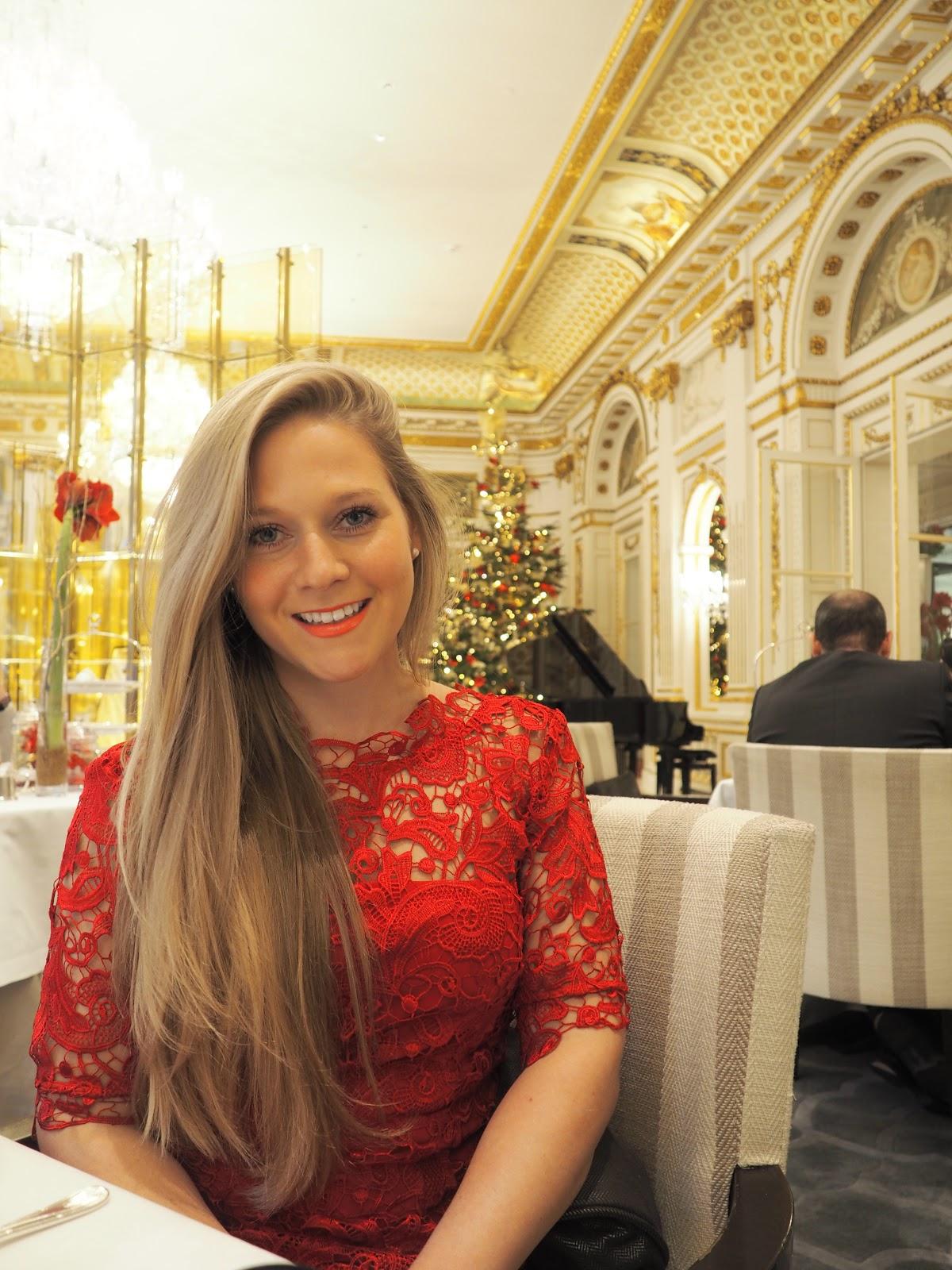 Peninsula Hotel, Paris, Afternoon Tea, Katie Matthews - blonde girl in red dress at afternoon tea