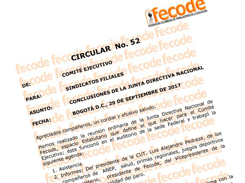 Circular No.52: Conclusiones Junta Directiva Nacional