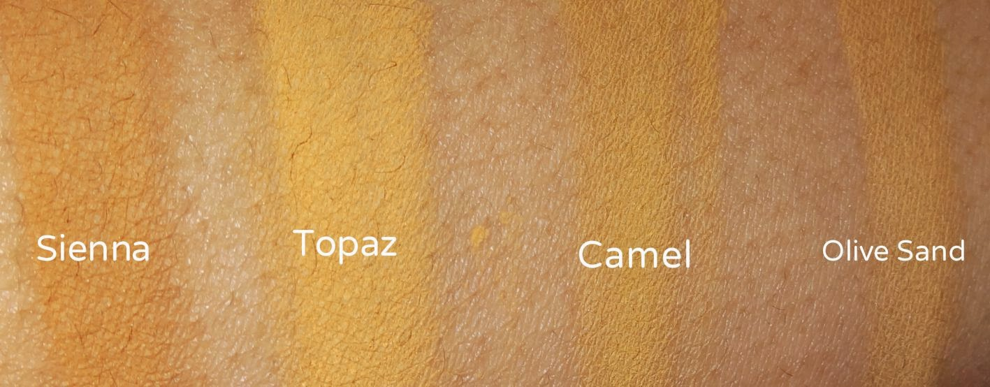 Ben Nye Face and Mojave Luxury Powders Sienna, Topaz,Camel, Olive Sand swatches
