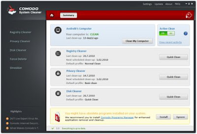 Comodo System Cleaner Free Registry Cleaner