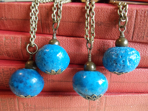 20 BLUE Faience Donkey Beads for Crafts or Jewelry