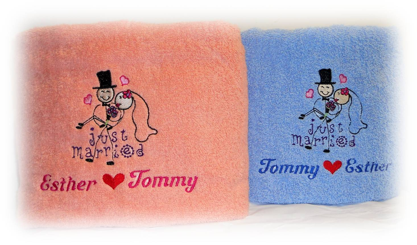 Personalised Wedding Gifts Towels : ... on customized gift ideas in Singapore: Wedding Towels with embroidery