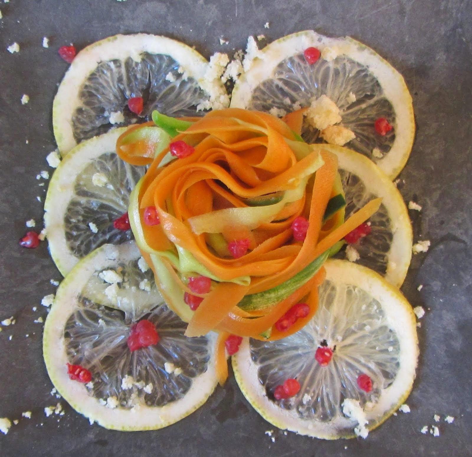 Carpaccio di limoni e  polvoron