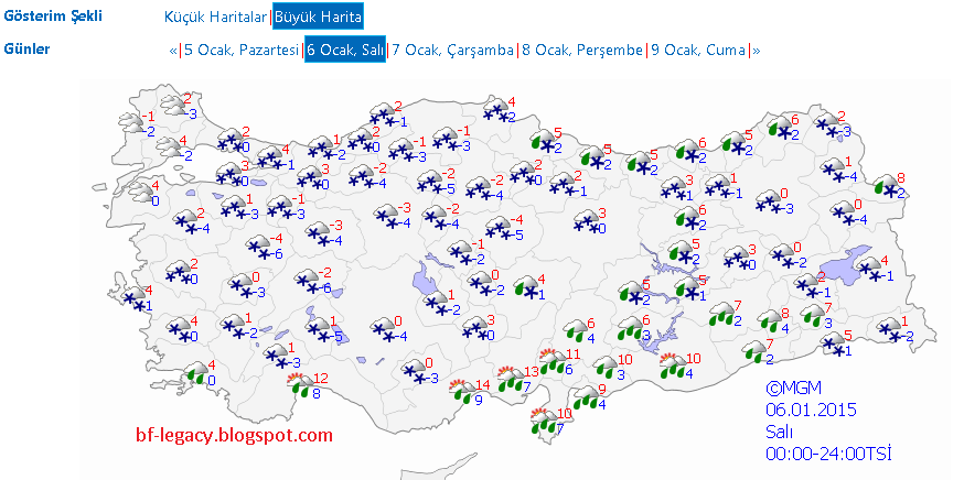 6 Ocak 2015 Hava Durumu 06.01.2015 İstanbul Hava Durumu Ankara, İzmir Hava Durumu