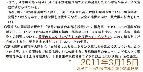 「3月11日:メルトダウンに至る可能性もあり」「3月12日:最悪の事態想定を」「3月16日:撤退なんてありえない」原子力災害対策本部会議メモの全容