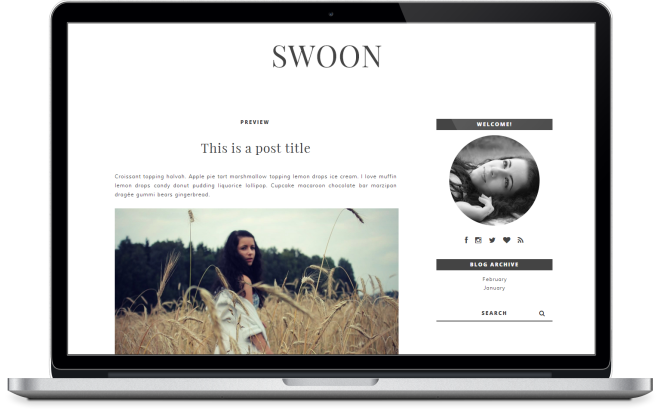 Swoon Premade Blogger Template Instant Download