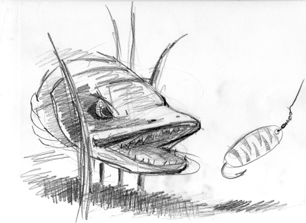 Muskie Drawing The muskie (aka the large evil