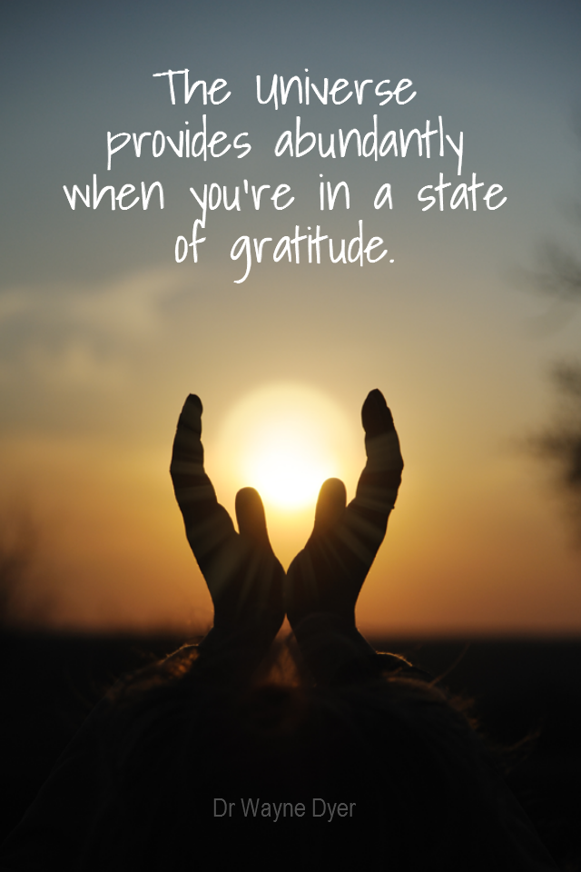 visual quote - image quotation for GRATITUDE - The Universe provides abundantly when you're in a state of gratefulness. - Dr Wayne Dyer
