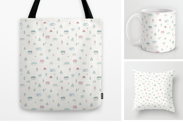 casas, pattern, estampado, society6, shop, cute house, totebag