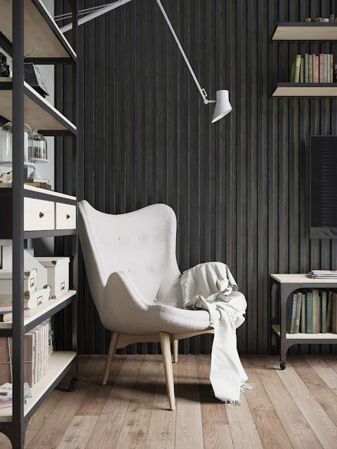 black and white reading room design by Denis Krasikov