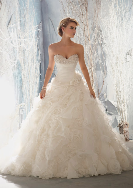wedding dress with ruffles