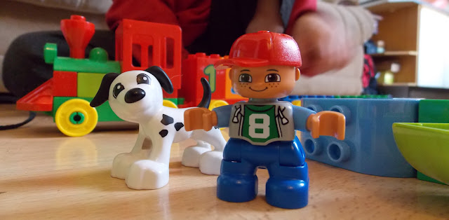 lego dupo mini figure and dalmation dog young children