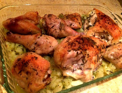 Roasted Rosemary Chicken with Pesto Potatoes