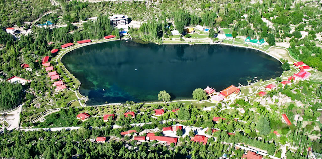A birds eyeview of the resort in late summer