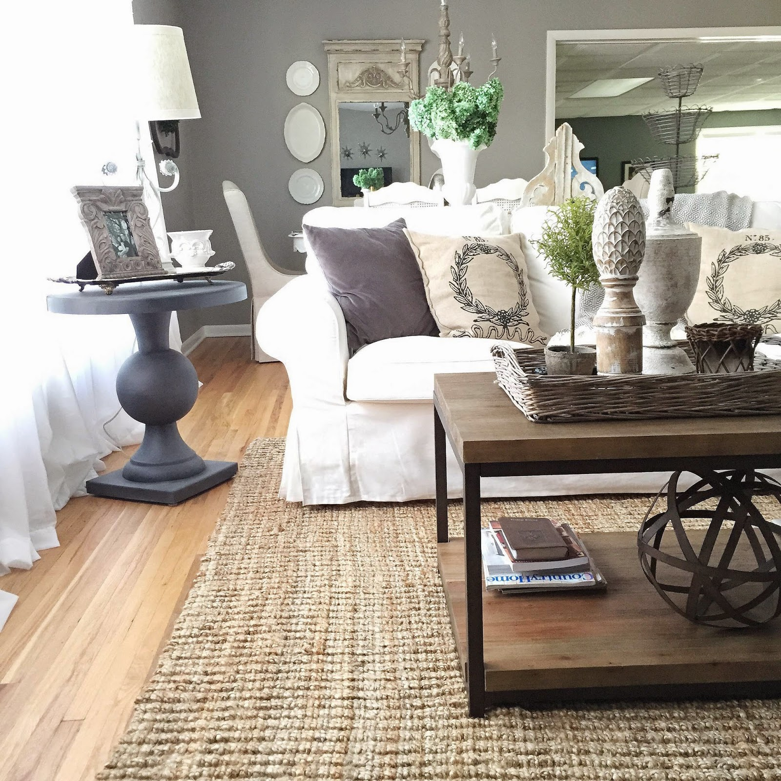 12th and white around the browning abode for Living room sofa table decorating
