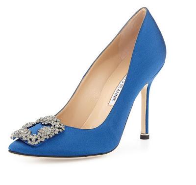 Manolo Blahnik blue satin pumps with brooch embellishment