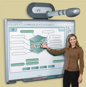 woman by a smartboard
