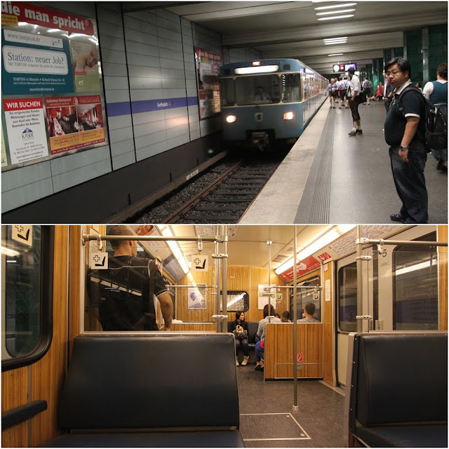 Here comes the subway train in Munich, Germany