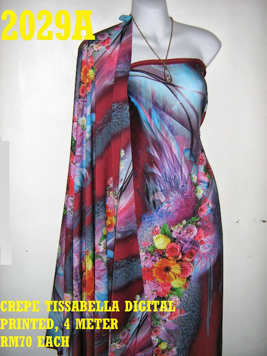 CTD 2029A: CREPE TISSABELLA DIGITAL PRINTED, EXCLUSIVE DESIGN, 4 METER