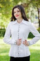 Camasa alba din poplin Larisa (Ama Fashion)