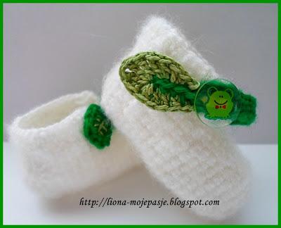 Jesienne, liściaste buciki niemowlęce:)