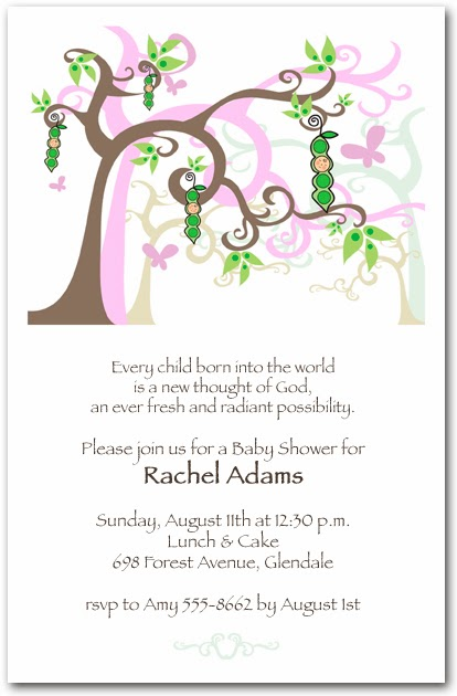 Peapod Tree Baby Girl Shower Invitations | Shop Announcingit.com