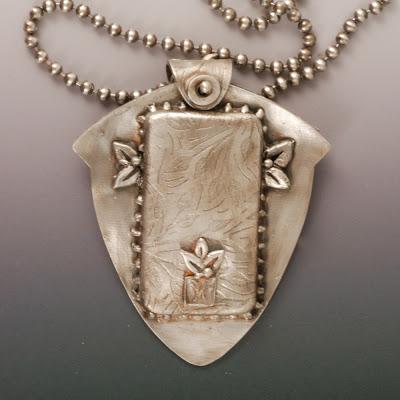 Vickie Hallmark hand-painted enamel bird on glass fine silver pendant back