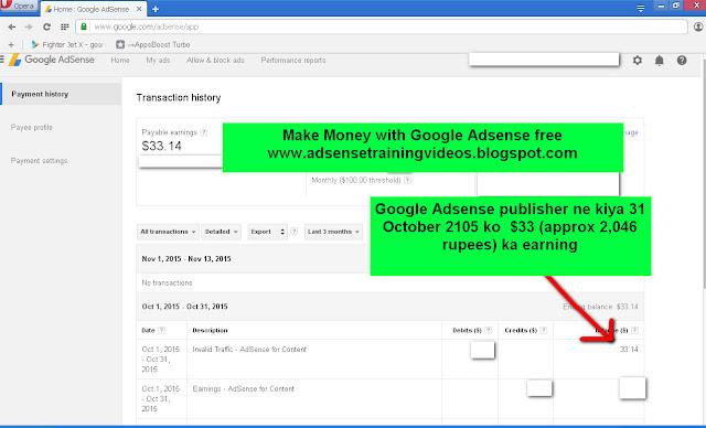Google Adsense publisher ne 31 october 2015 ko 2046 rupees ka earning kiya-see screenshot