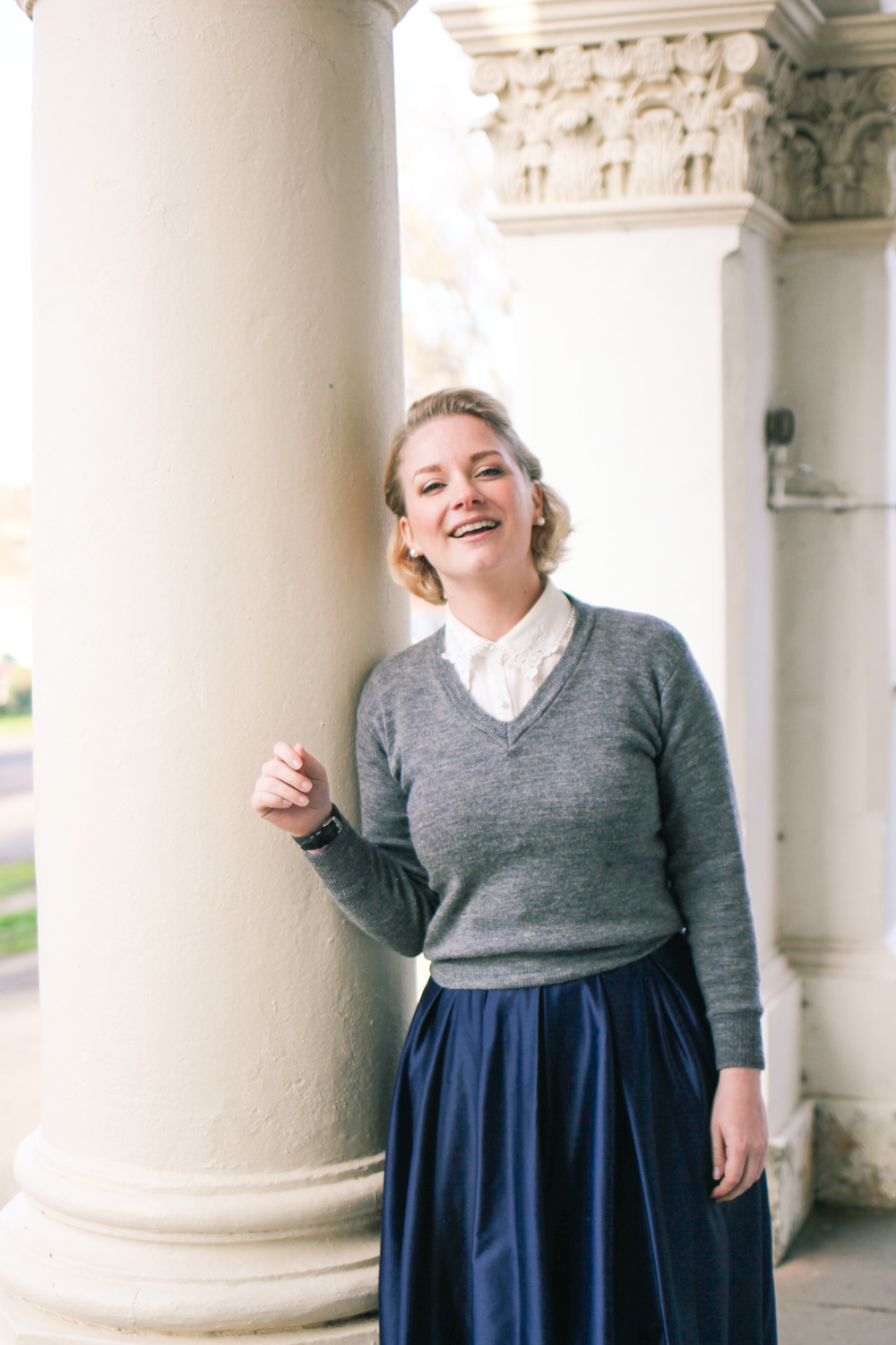 @findingfemme at Clunes and Maryborough in Review Australia navy midi skirt, Modcloth blouse and grey v-neck jumper.