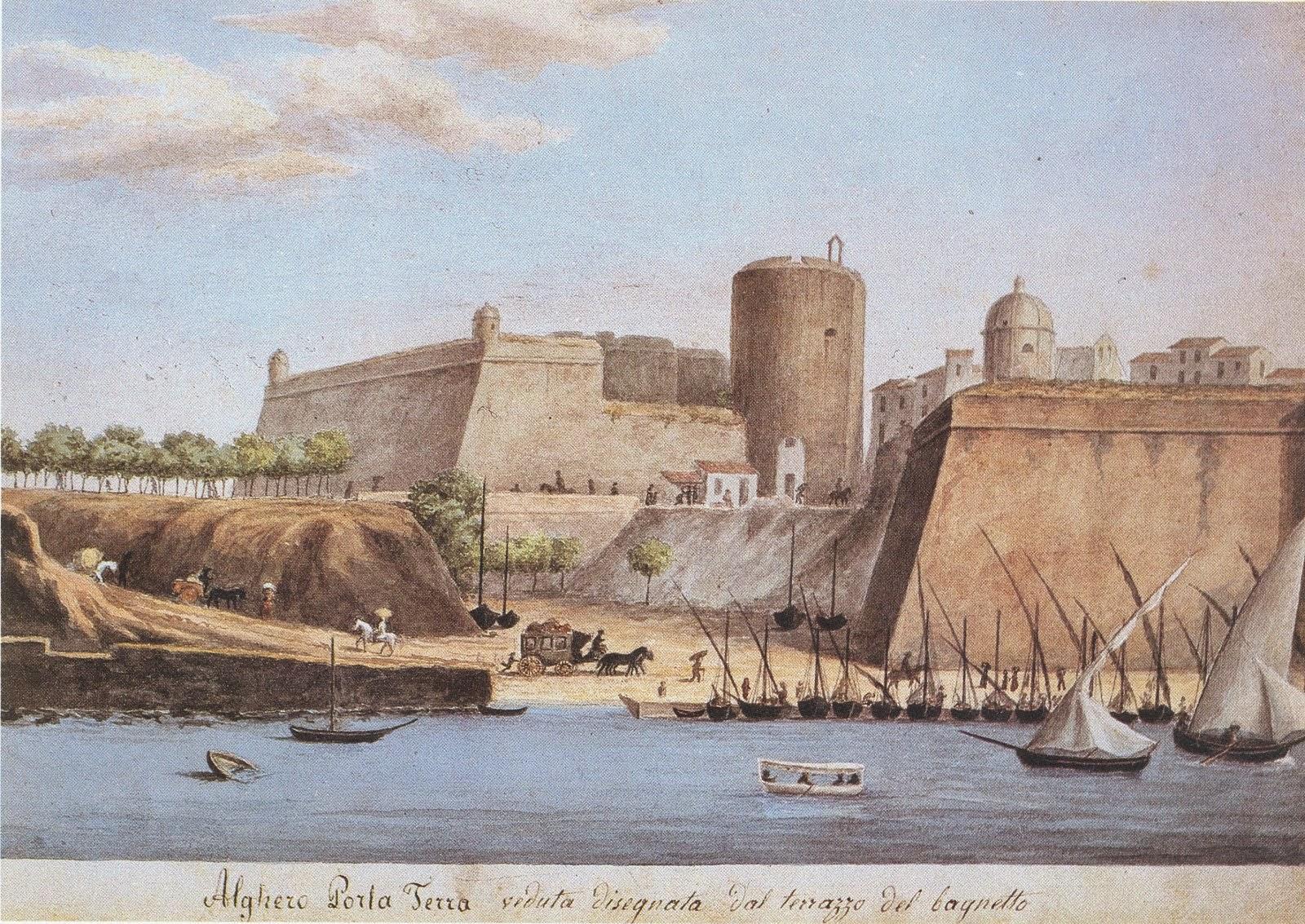 L'Alguer en una aquarel·la de Simone Manca (segona meitat del segle XIX)
