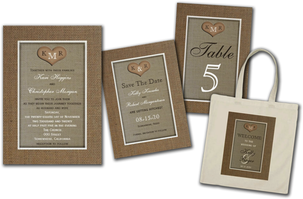 Rustic Burlap Wedding Invitations with Monogram