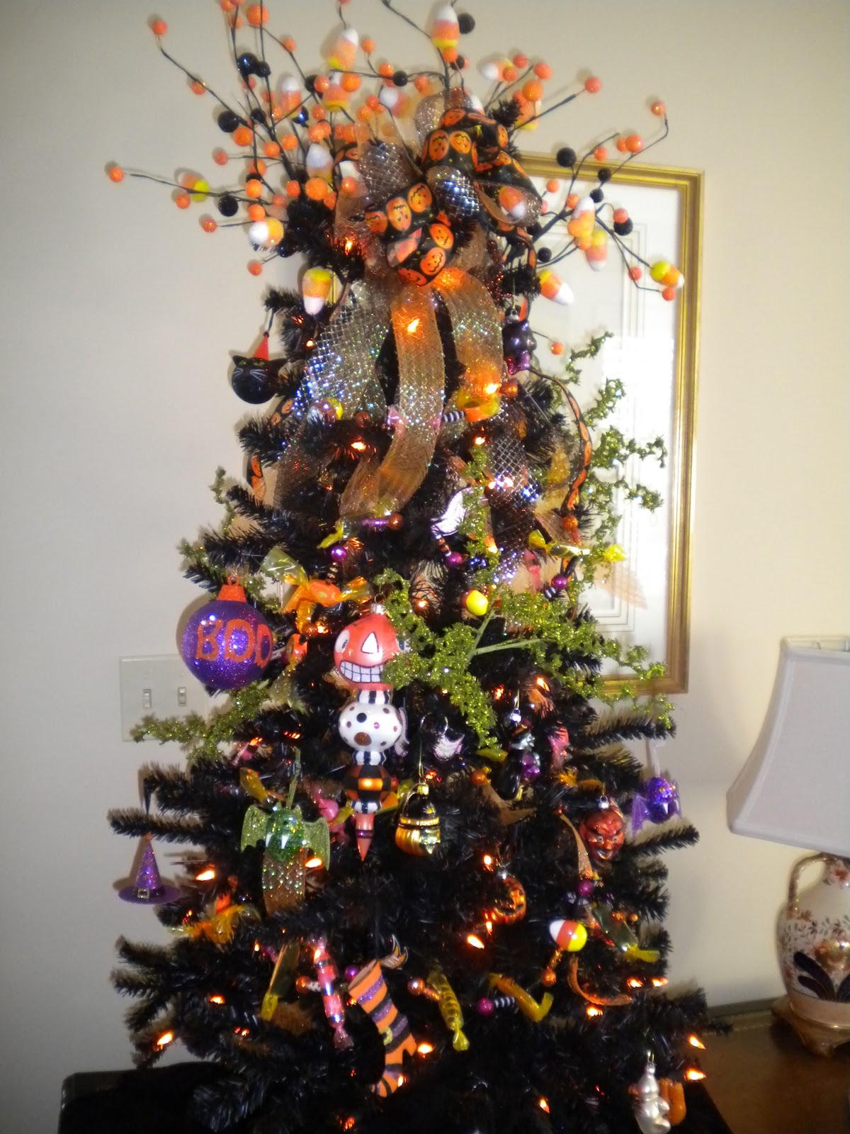 Halloween tree ornaments - The Halloween Tree Is Up In All Of Its Orange And Black Glory The Sad Thing About It Is The Lack Of Any Stitched Ornaments Next Year Will Be Different And