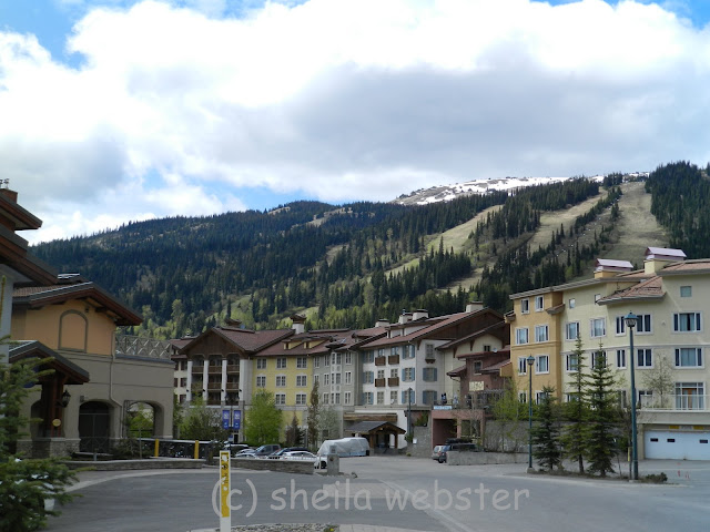 Tod Mountain and several ski runs can be seen behind the village during the summer months