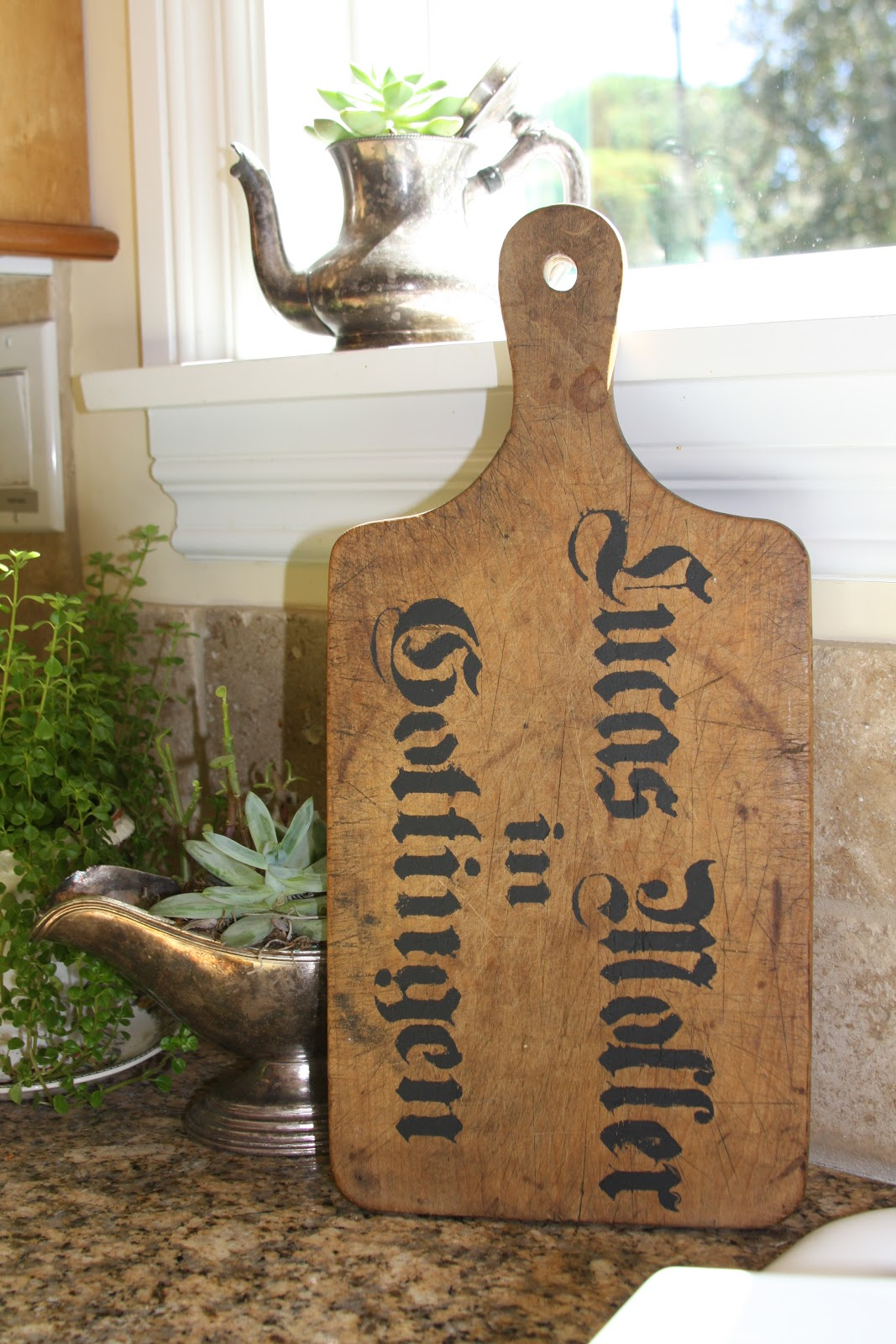 french script cutting board
