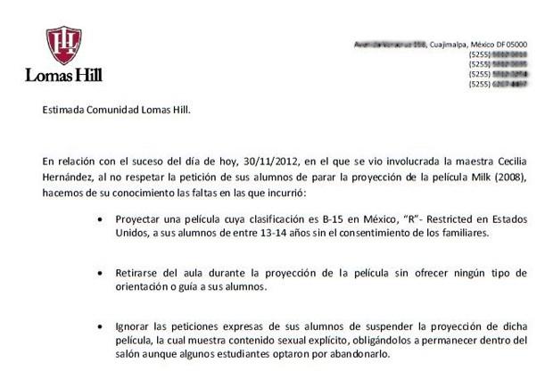 Trecho do comunicado oficial do colégio Lomas Hill, do México, sobre a demissão da professora Cecilia Hernández (Foto: Reprodução)