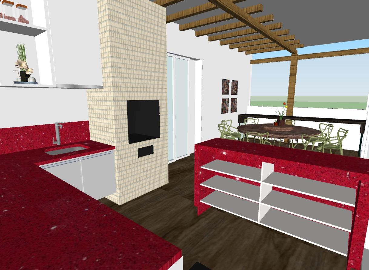 #B01730 Projeto Área externa de Cobertura 1218x892 px Projetos De Cozinha Externa_5445 Imagens