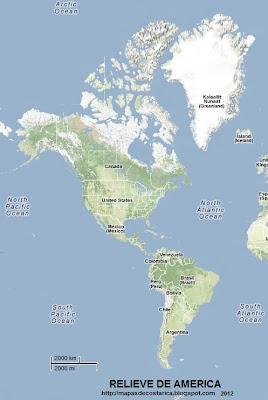 AMERICA, mapa de relieve de America