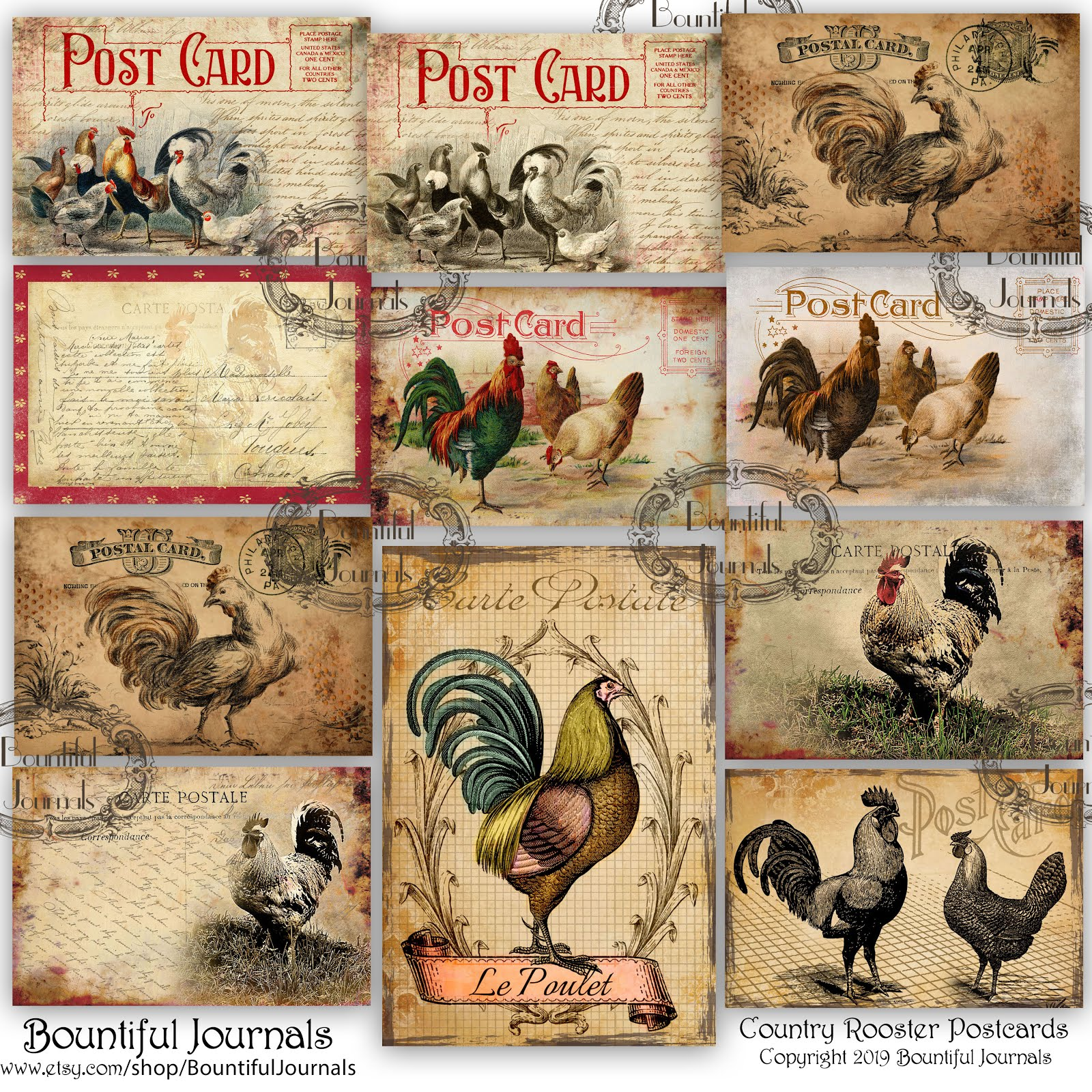 French Country Rooster Postcards