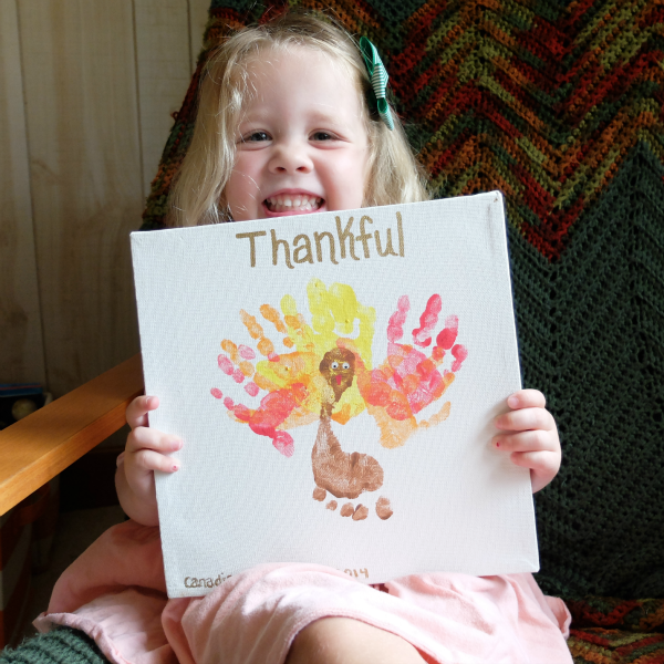 Hand Print Turkey on Canvas