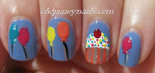 Balloon and cupcake nail art for birthday theme nails
