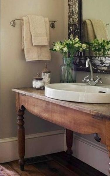 To da loos wood tables as bathroom vanities Used bathroom vanity with sink