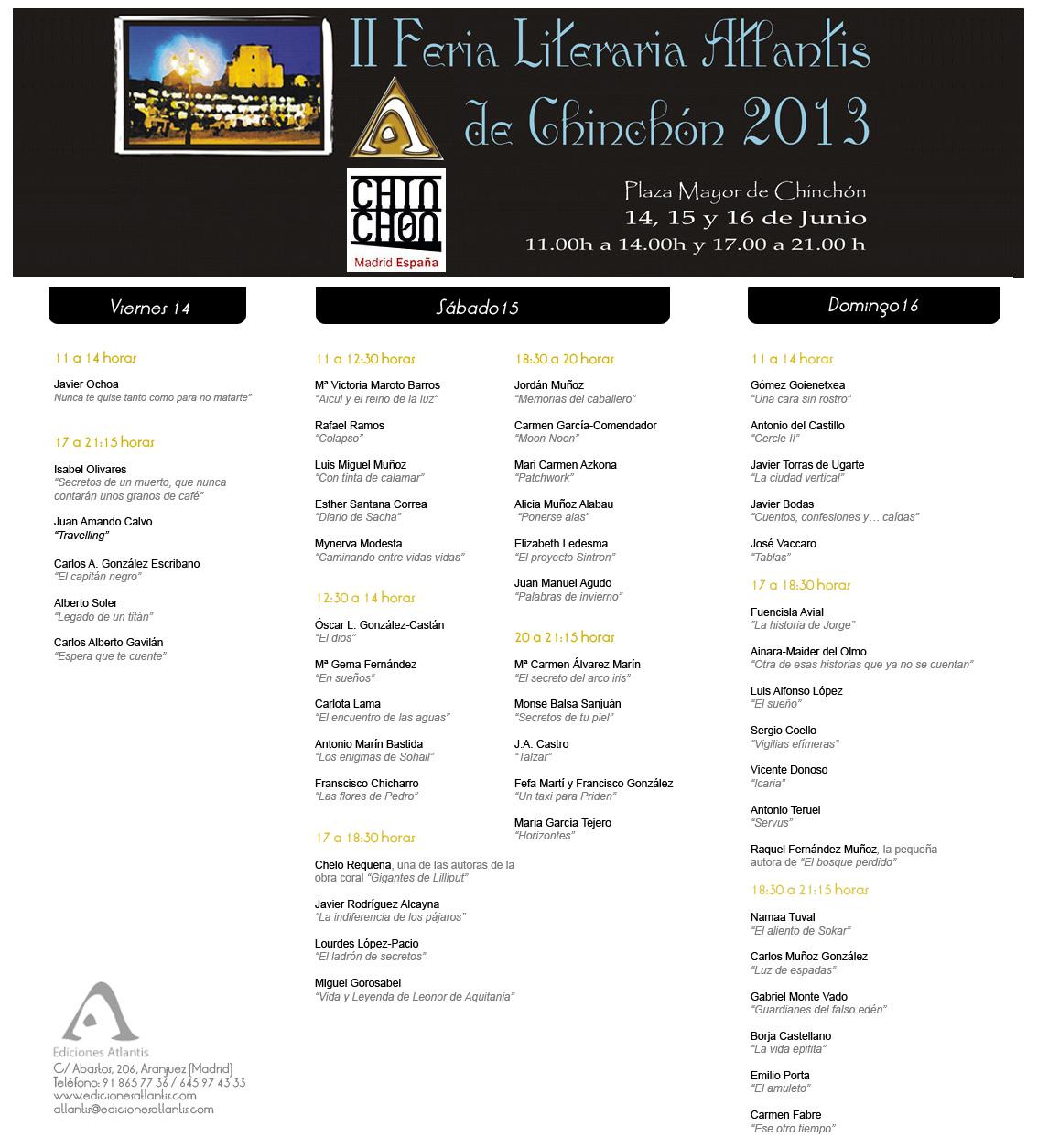 Programa de la II Feria Literaria Atlantis de Chinchón 2013