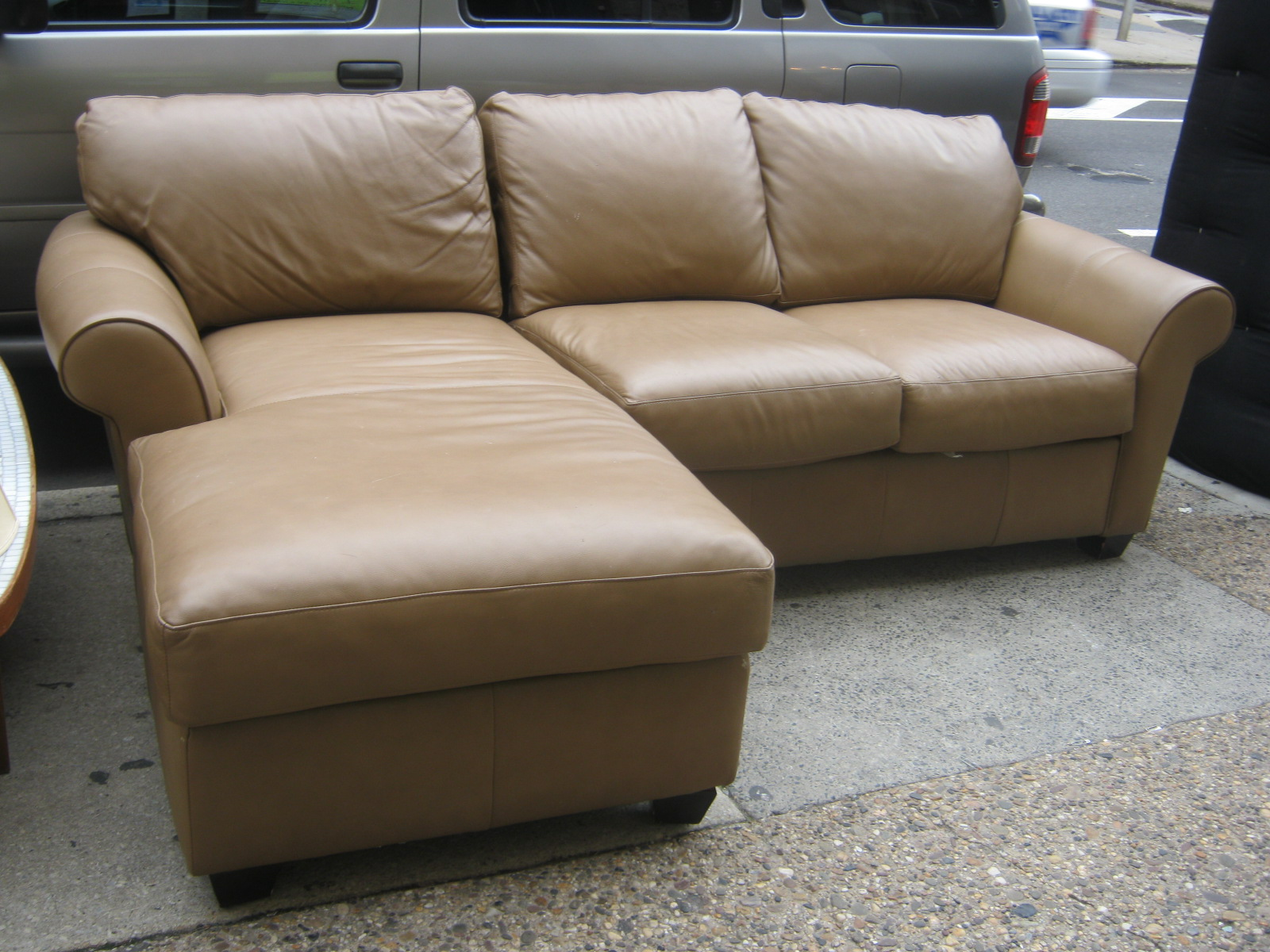 Uhuru furniture collectibles brown leather sectional w for Brown leather sectional with chaise