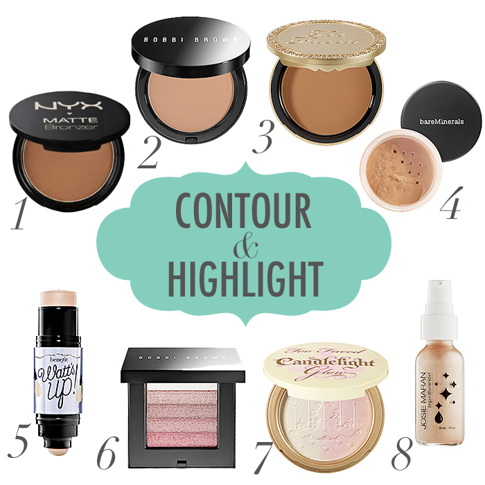 products for contouring and highlighting, how to highlight and contour, contour makeup products, highlight beauty products, NYX Bronzer, Bobbi Brown Bronzer, Too Faced Bronzer, Bare Minerals Bronzer, Benefit Watts Up, Bobbi Brown Shimmer Brick